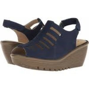 Skechers Suede Peep-toe Sling-back Wedges - Trapez